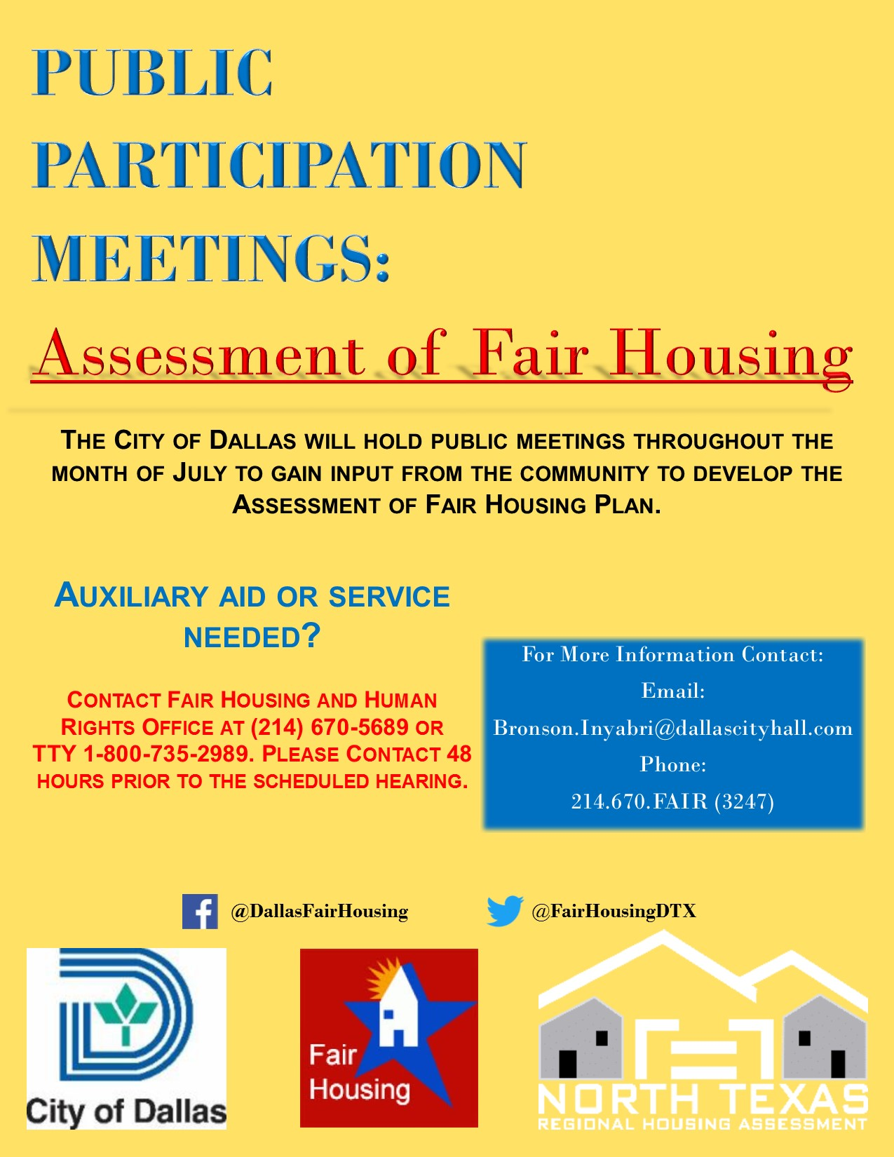 NOTICE OF SETTLEMENT Between The City Of Dallas And US Department Housing Urban Development