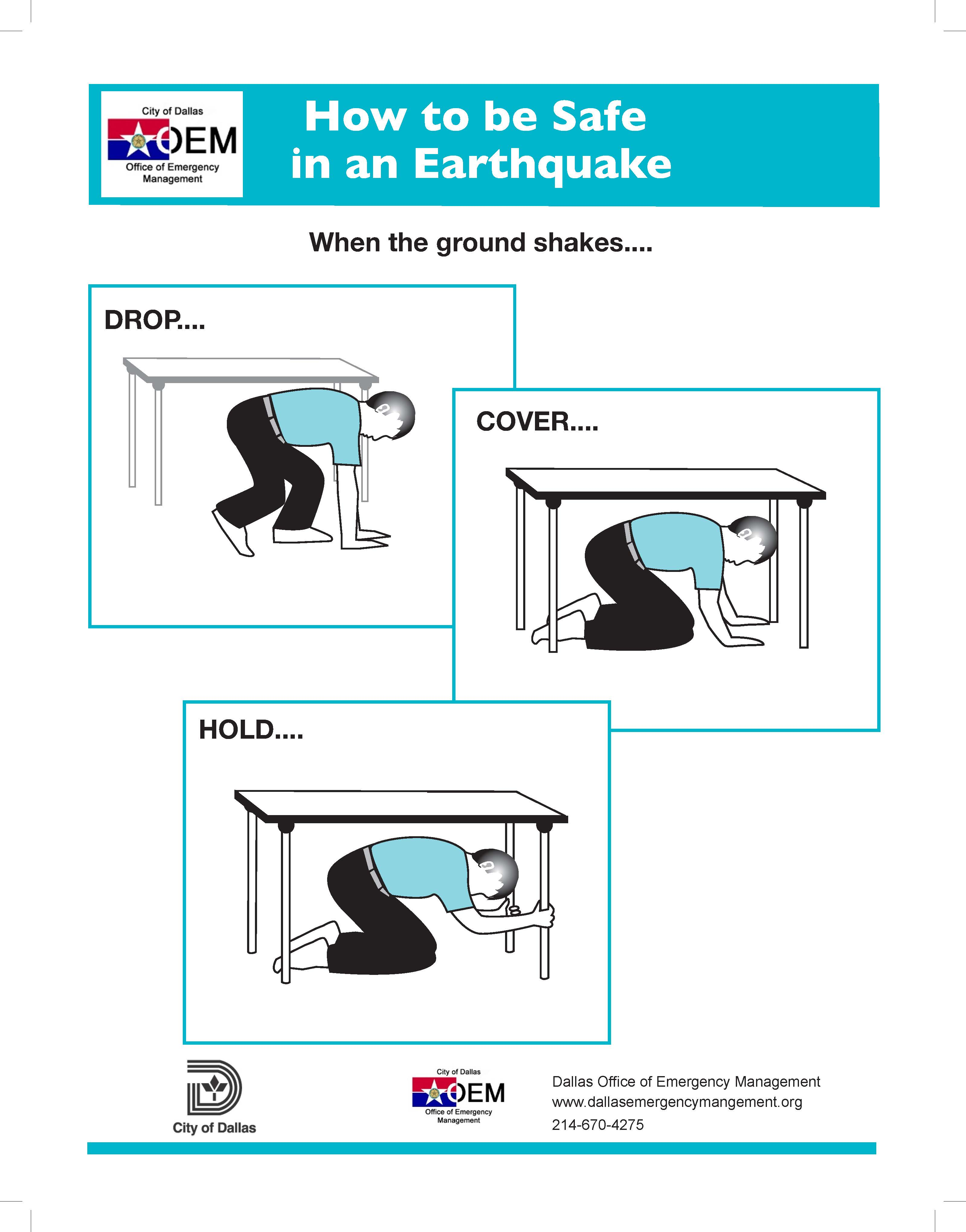 Drop Cover Hold Earthquake Safety infographic pg 1