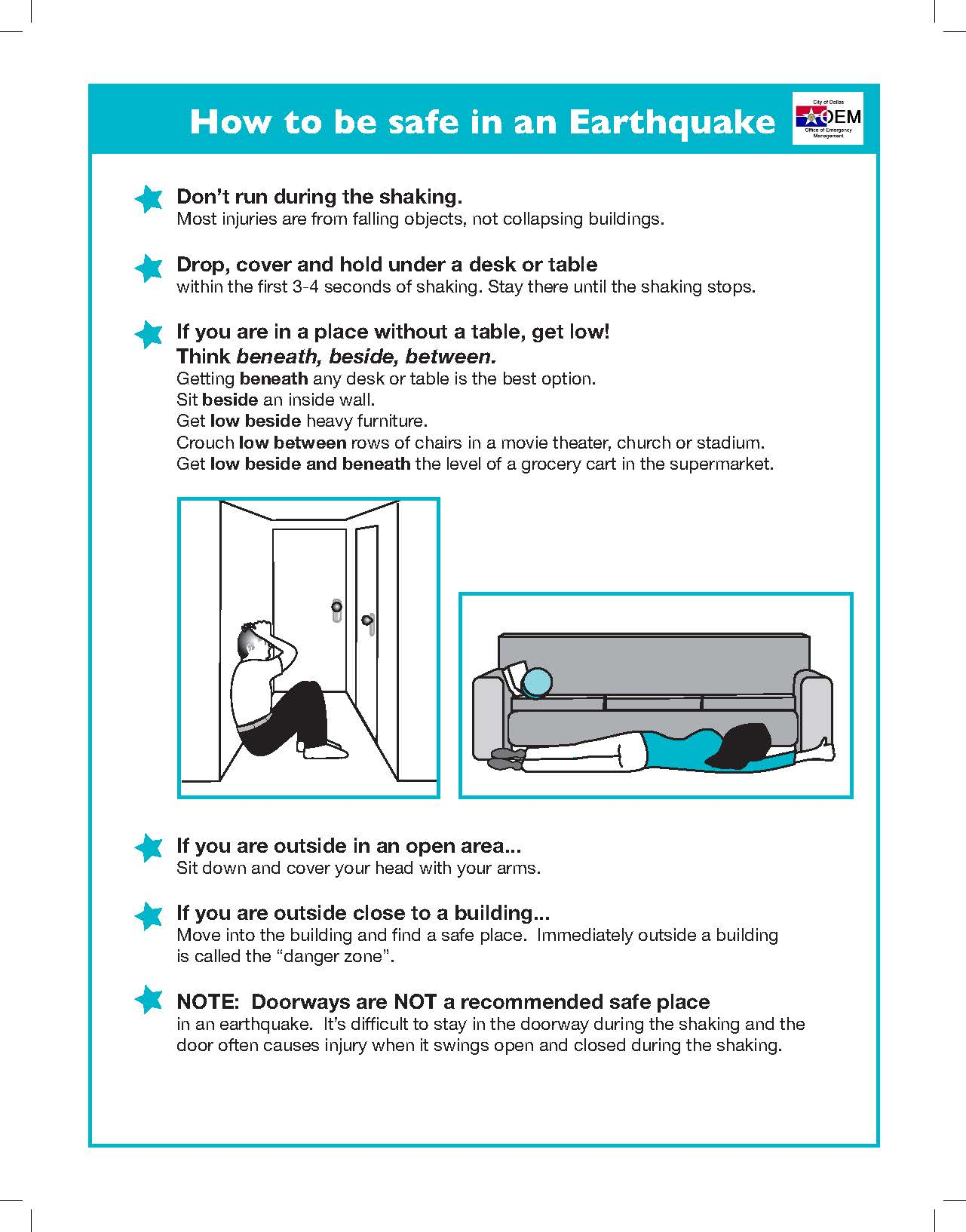 how to be safe in an earthquake infographic