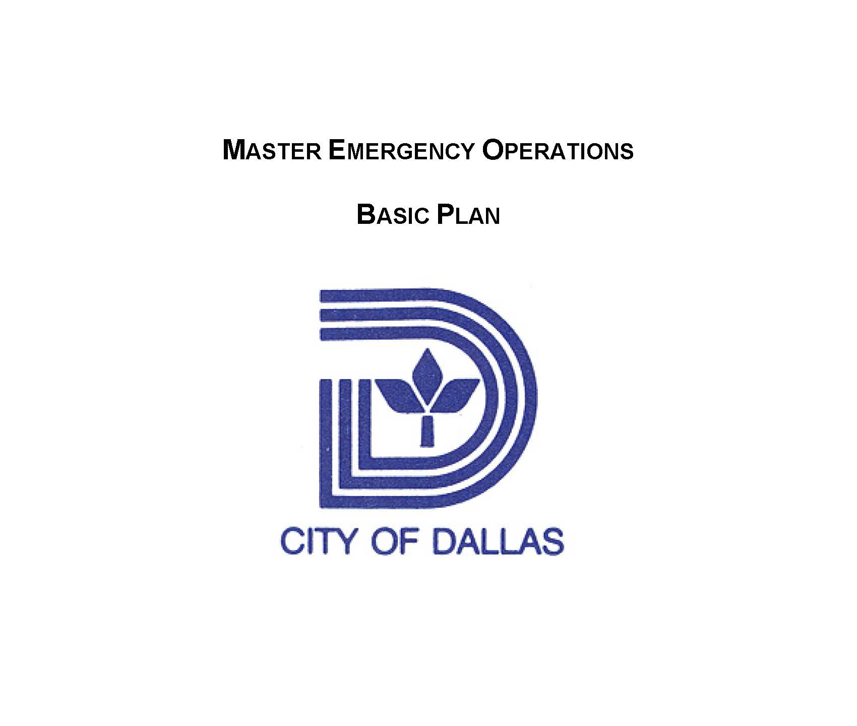 Master Emergency Operations Plan Cover Image